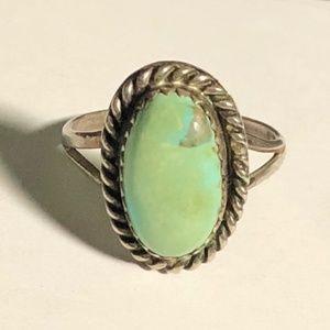 Rope Framed Greenish Blue Turquoise Ring Size 6.25